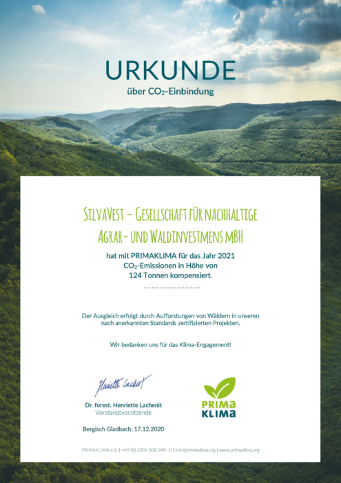 Certificate CO2 compensation PRIMAKLIMA e.V.